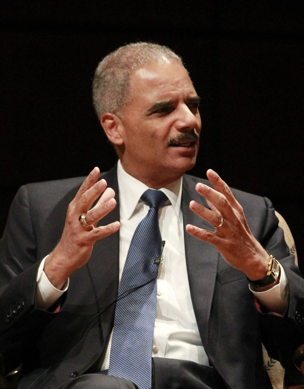 U.S. Attorney General Eric Holder talks to an audience at the Alys Stephens Center in Birmingham, Alabama, in this September 15, 2013 file photo.