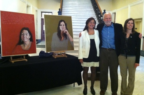 From left, Denise Altvater, Robert Shetterly and Esther Attean stand for a photo after Shetterly revealed their portraits for the first time Dec. 4, 2013, at the Hall of Flags in the State House.