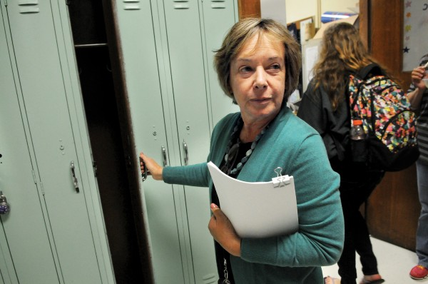 Kennebunk High School Principal Sue Cressey in October talks about what she feels are the many antiquated and unacceptable things at the school that students have to deal with as a new addition is being considered. The lockers that were built many years ago can't even fit the students backpacks and books, she said
