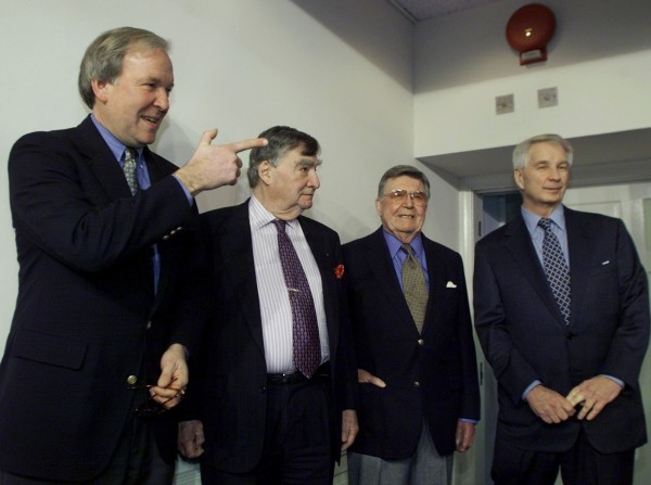 Former White House Press Secretaries (L-R): Mike McCurry, Pierre Salinger, Jerald terHorst and Larry Speakes stand in the White House Briefing Room moments before the start of a ceremony officially re-naming the room after former White House Press Secretary James Brad in Washington, DC in this Feb. 11, 2000 file photo.