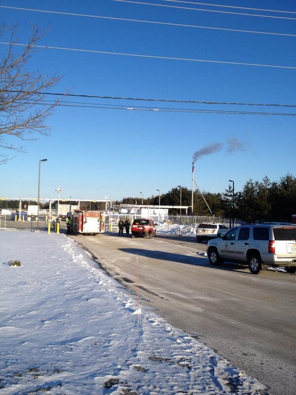 Bangor firefighters work to rectify a gas leak at a substation on Maine Ave. on Friday morning.