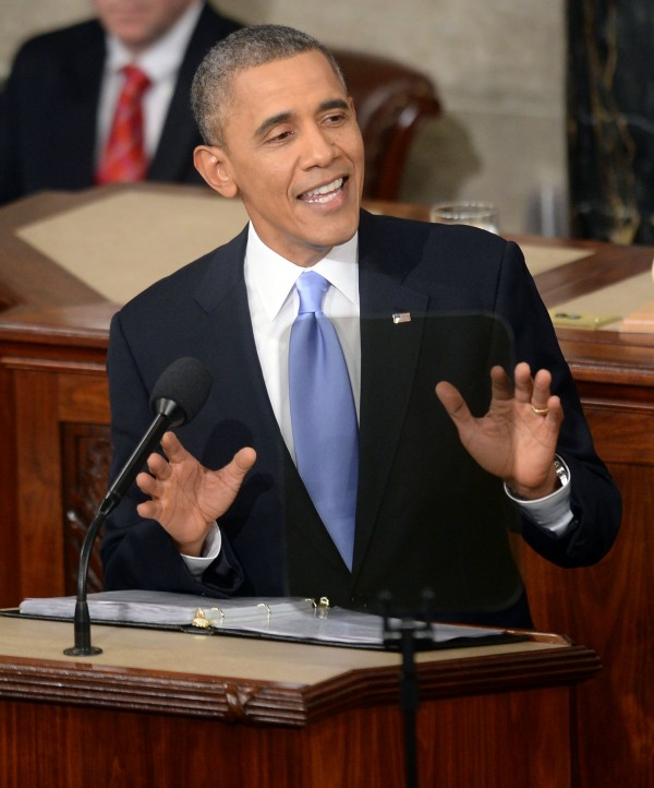 President Barack Obama delivers his State of the Union speech during a joint session of Congress on Capitol Hill in Washington, D.C., Tuesday, January 28, 2014.