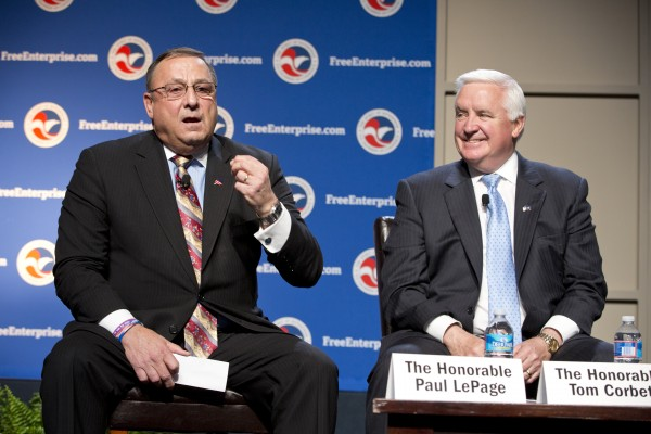 Maine Gov. Paul LePage appeared with Pennsylvania Gov. Tom Corbett at a U.S. Chamber of Commerce summit in April 2013. Gary Alexander, the consultant hired by LePage to analyze Maine's Medicaid and welfare programs, stepped down as Corbett's welfare chief in February 2013.
