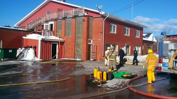 Firefighters respond to a fire at the Katahdin Federal Credit Union building in Millinocket Wednesday morning. No one was injured.