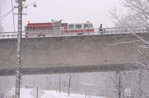 The I-95 bridge southbound over the Kenduskeag Stream was the scene of an accident Sunday afternoon.