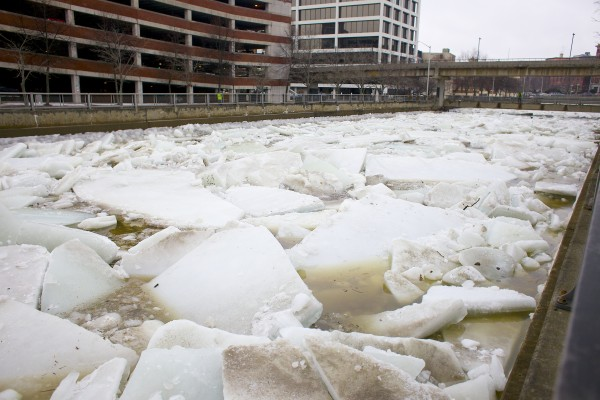 The Kenduskeag Plaza was closed Thursday morning after fears of flooding due to an ice backup and rising tides on the Kenduskeag Stream. At least one trial was pushed back at the Penobscot Judicial Center to allow time for people to move their cars.
