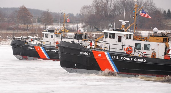 U.S. Coast Guard Cutters Tackle (left) and  Bridle break ice on the Penobscot River in Bangor on Saturday.