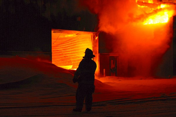 Firefighters from several St. John Valley departments were at the scene of a massive fire Thursday night at a potato storage shed on Pump House Road just off U.S. Route 1 east of downtown.