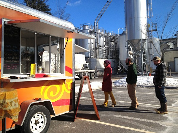 Employees at Allagash Brewing Co. buy crepes every Thursday from Lauren Dallam's Cafe Crepe food truck.
