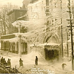 "The Bangor Opera House resembled ""an ice palace"" after the fire that destroyed it on Jan. 15, 1914."