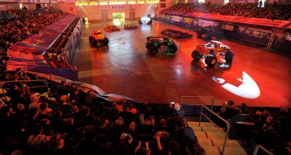 The giant trucks parade around before the Monster Jam at the Cross Insurance Center in Bangor on Saturday afternoon.