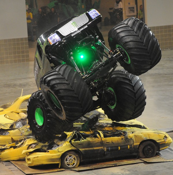 The Monster Energy truck crushes cars during the Monster Jam at the Cross Insurance Center in Bangor on Saturday afternoon.