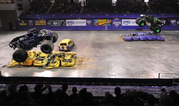 The Predator and Monster Energy trucks face off Saturday afternoon during the Monster Jam at the Cross Insurance Center in Bangor.