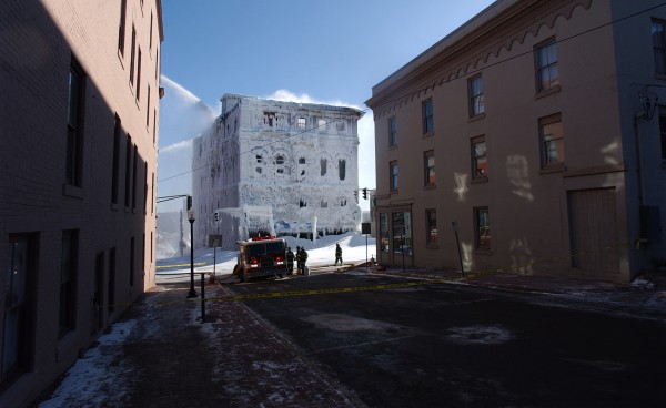 Downtown Bangor and its side streets were abandoned the day after the fire as crews battled the stubborn fire that destroyed the Masonic Hall and two retail spaces at 116-118 Main St.