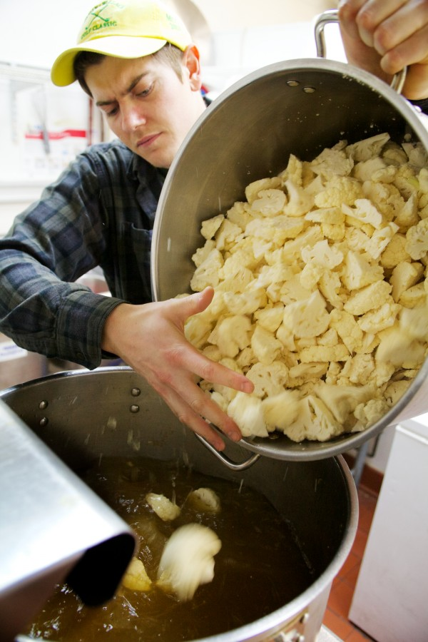 Drew Kinney, co-owner of Kamasouptra, adds water to what will become cauliflower and caramelized onion soup at the eatery's Maine Mall location in South Portland on Thursday. &quotWe use it as a special,&quot he said.