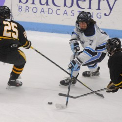 Lomberg scores twice as Maine hockey team beats AIC 5-1