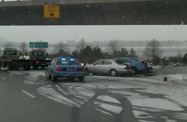 Southbound traffic on Interstate 295 was slowed Friday morning by a 3-car accident just after the Washington Avenue exit in Portland. A police cruiser was among the vehicles involved.