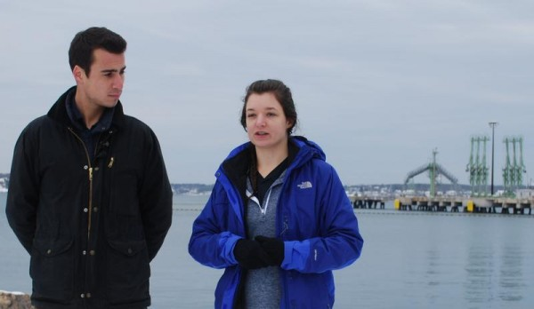 Environmental activist Brett Chamberlin and University of New Hampshire student Kaity Thomson met with members of Protect South Portland on Monday at Bug Light Park to discuss their week-long trip through towns where pipelines owned by Portland Pipe Line Corp. pass. Thomson intends to catalog the habitats and watersheds along the pipelines; Chamberlin met with residents and business owners in the towns. Behind Chamberlin and Thomson is a pier owned by Portland Pipe Line.