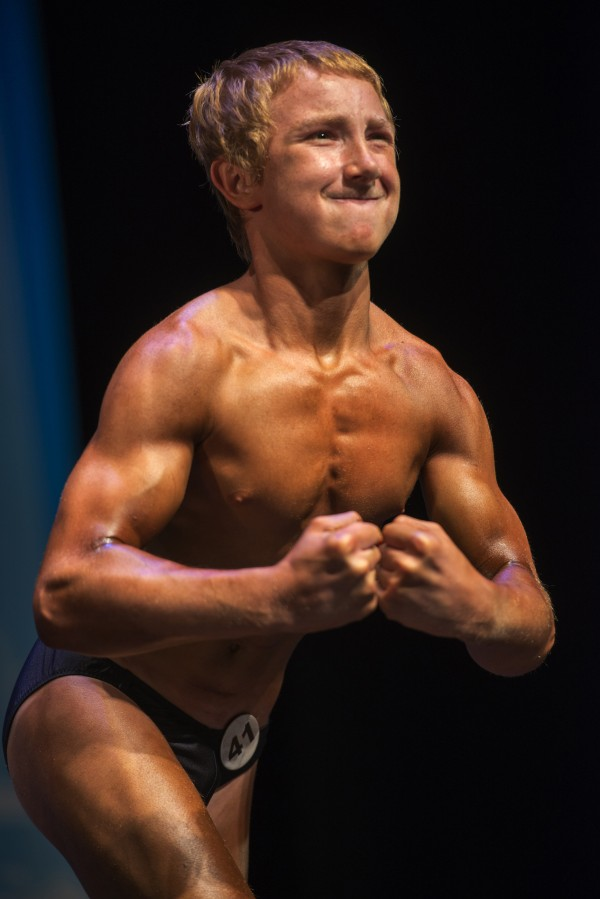Jake Schellenschlager, 13 at the time, was the youngest competitor at the 2013 Musclemania Capitol Tournament of Champions on May 18, 2013 in Silver Spring, Md. (