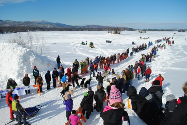 Crowds gather at the Plum Creek Wilderness Sled Dog Race in Greenville at a past event. Due to a lack of snow, race organizers have not been able to hold the race since 2011. Much of Aroostook County saw its snow wiped out after rain swept into the area in early January, leaving yards with patches of visible grass and snowmobile trails with bare patches and water holes.
