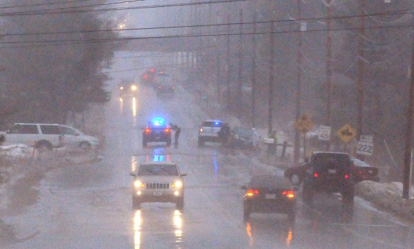 Several vehicles slid off the road on outer Union Street in Bangor on Saturday.