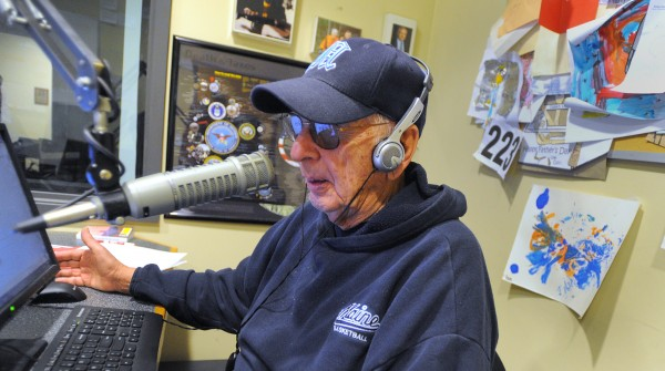 Longtime radio sportscaster George Hale in the studio during the morning show on WVOM
