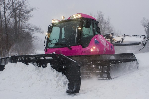 Sugarloaf unveiled a new 2014 Prinoth Bison-X snowcat, painted bright pink in support of the Sugarloaf Charity Summit, on Dec. 20.