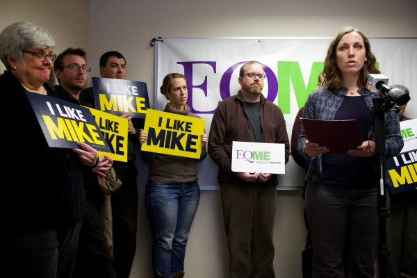 EqualityMaine Political Director Ali Vander Zanden announces her organization's endorsement of Mike Michaud for governor instead of longtime supporter Eliot Cutler in Portland on Thursday.