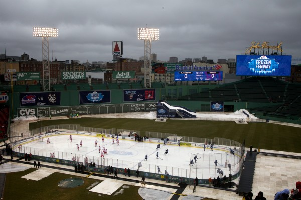 Hockey players from the University of Maine and Boston University take to the ice at Frozen Fenway on Saturday.