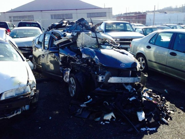 The Sweeney family of Kennebunk's Toyota Prius is barely recognizable after a 35-car pile-up crash in Pennsylvania.