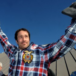 Two-time Olympic gold medalist Seth Wescott acknowledges a crowd during a homecoming celebration at the Sugarloaf ski resort in March 2010.