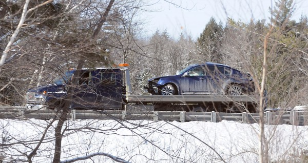 One person was injured when the driver of this vehicle lost control driving onto the Piscataquis River bridge in Howland in the southbound lanes of Interstate 95. A tractor-trailer that was traveling behind the car hit it after it bounced off the guardrail.
