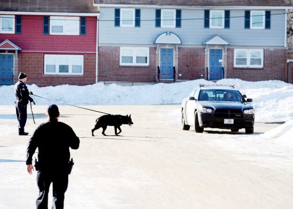 Lewiston police officers search the area along Hillside Lane in Lewiston on Monday morning.