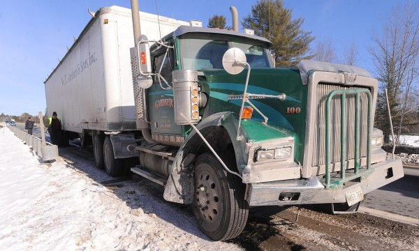 One person was injured when a driver lost control on the Piscataquis River bridge in Howland in the southbound lanes of Interstate 95. A tractor-trailer that was traveling behind the car hit it after it bounced off the guardrail.