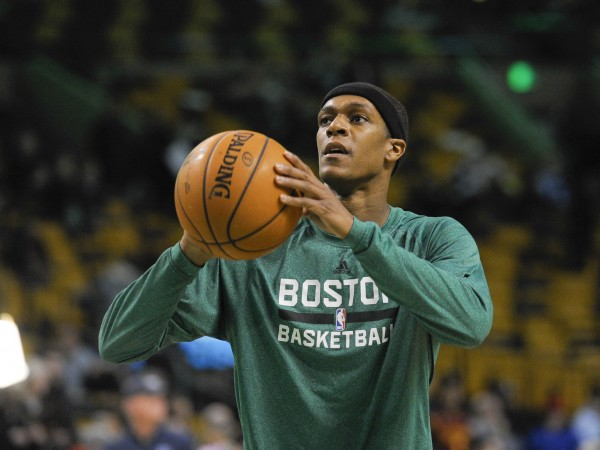 Boston Celtics point guard Rajon Rondo (9) shoots a free throw prior to the start of a game against the Cleveland Cavaliers at TD Garden in December.