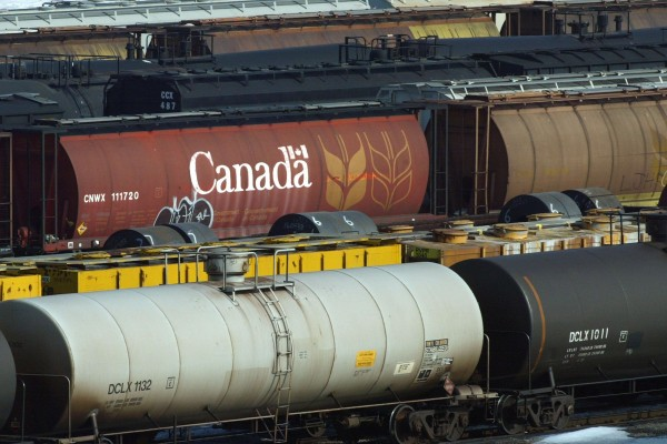 Railcars sit at a Canadian National Railway (CN) yard in Hamilton, Ontario in this February 19, 2004 file photo.
