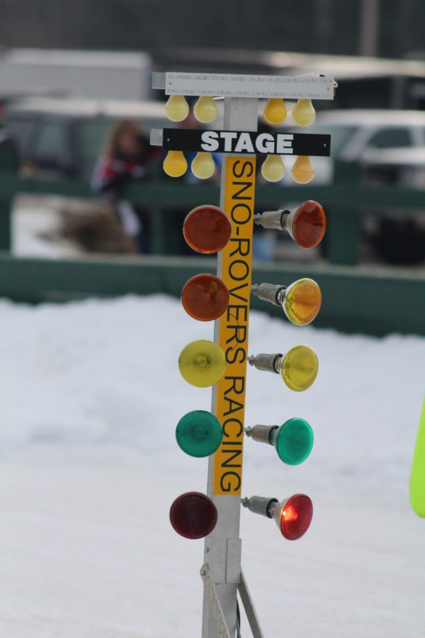 A set of lights signal to racers when to start during the Northeast Winter Nationals Snowmobile Ice Drag Races on Jan. 18 at the Katahdin Area Snowmobile Racing Affiliates ice dragway in Medway.