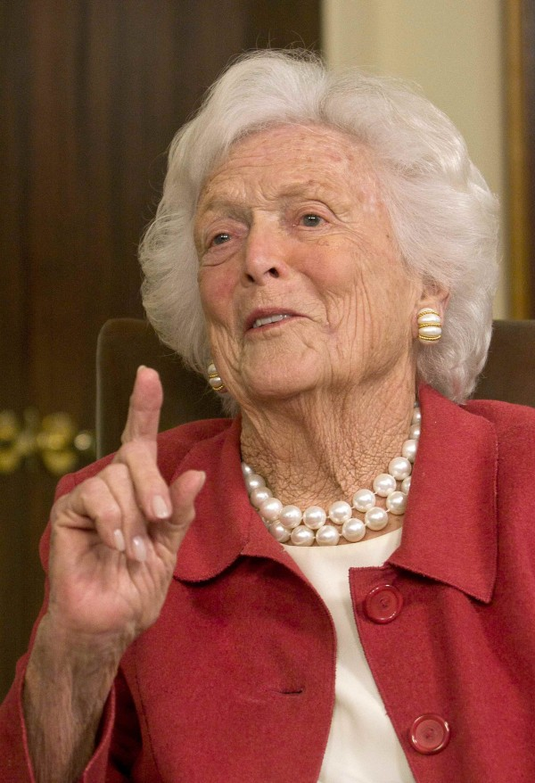 Former first lady Barbara Bush speaks during a news conference in Houston in March 2012. Bush, 88, has been hospitalized in Houston for treatment of early signs of a &quotrespiratory-related issue,&quot her husband's office reported.