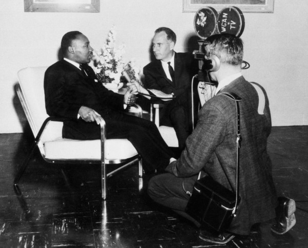 In this University of New England archival photo, famed civil rights leader Martin Luther King, Jr., grants a television interview during his first visit to Maine in 1964. King gave a speech that year at the Biddeford campus of St. Francis College, which would later become UNE.