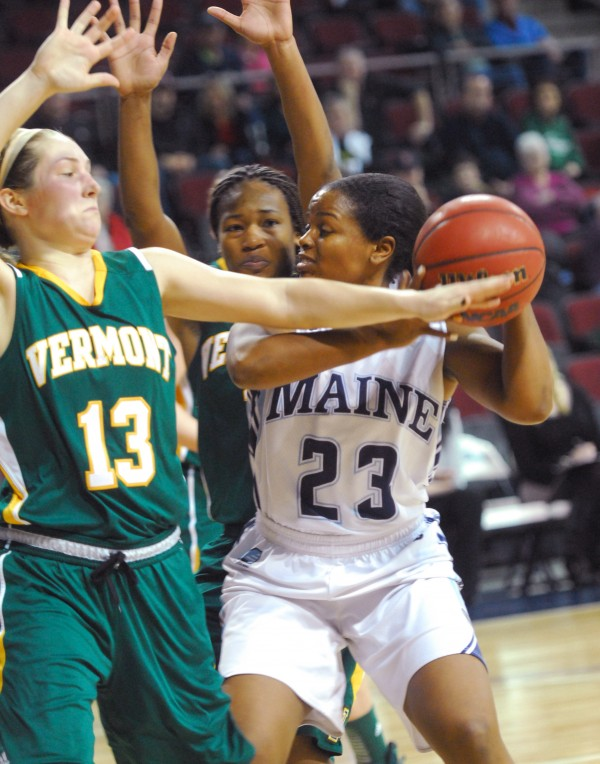 Ashleigh Roberts of the University of Maine (23), pictured in Wednesday's game against Vermont, scored 22 points Saturday in the Black Bears' 84-56 America East women's basketball loss at Albany.