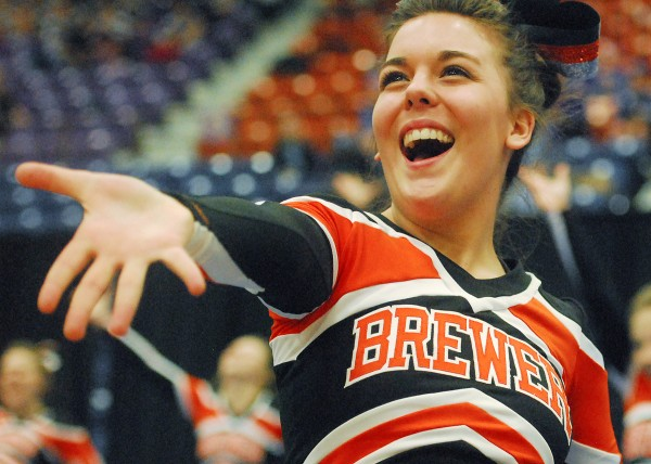 Brewer High School's Breannah Geiser cheers with the team at the Eastern Maine Class A championships Saturday at the Augusta Civic Center.