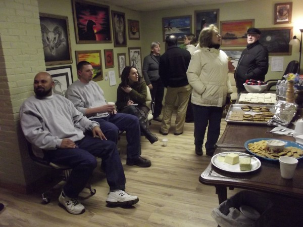 From left, Johnathan Smith, Glen Kleinert and other prison inmates were allowed to attend a reception at the Machias Bay Valley Chamber of Commerce, where their art work is on exhibit through January.