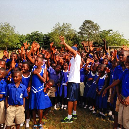 Roosevelt Boone of the University of Maine spent time in December 2013 teaching physical education and other activities to children at the Presbyterian Secondary School in Dormaa, Ghana.