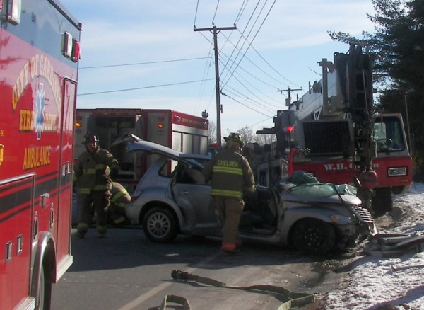 An accident on Route 9 in Chelsea on Thursday afternoon sent a woman to the hospital.