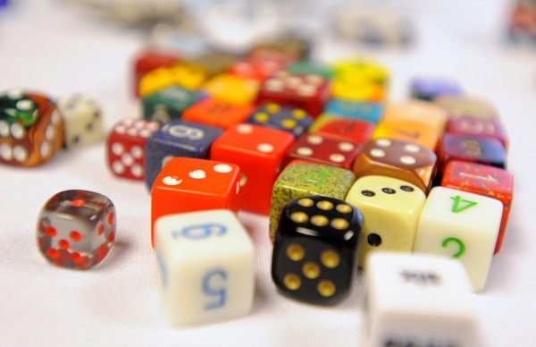 A collection of dice sits on a table at the sixth annual SnoCon Gaming Convention in Orono on Saturday.