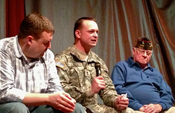 Maine Army National Guard Sgt. Nathaniel Grace, center, and other military veterans recount their personal experiences at a recent &quotstory exchange&quot at the University of New England in Portland, under the guidance of Art At Work director Marty Pottenger.