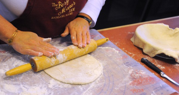 Cheryl Michaelsen works on a pie crust at the Berry Manor Inn in Rockland.