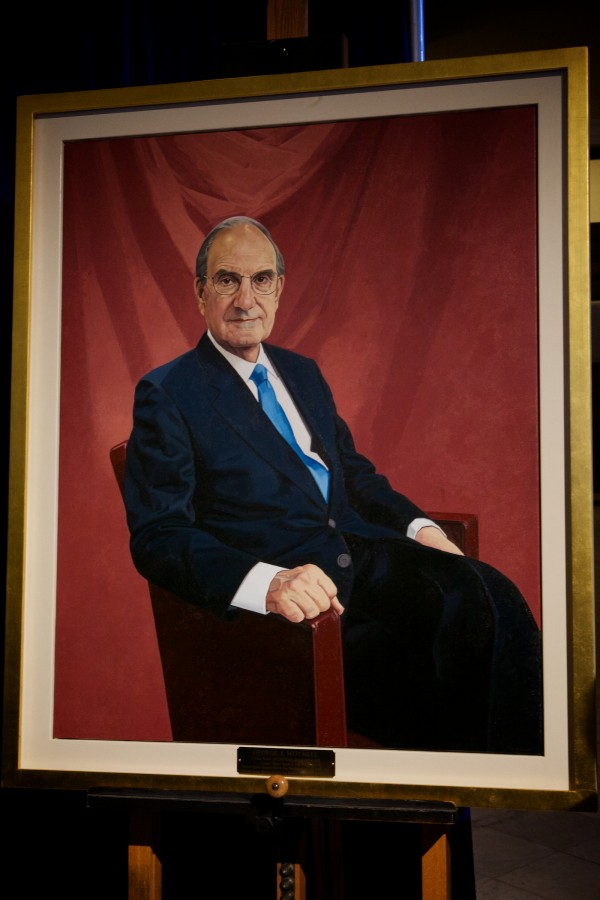Former U.S. Sen. George J. Mitchell's official portrait was unveiled at the State House in Augusta on Tuesday.