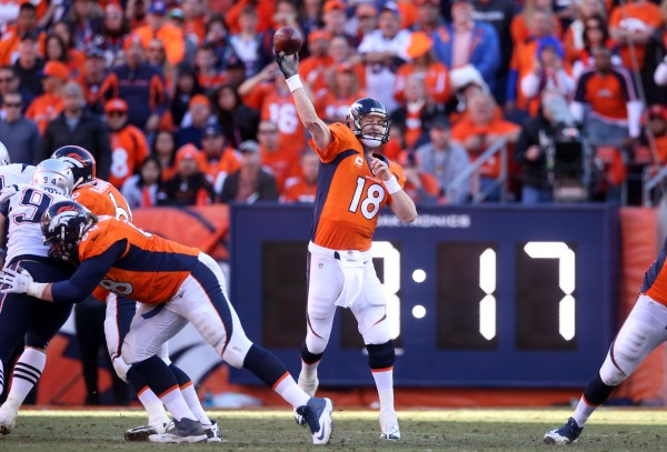 Denver's Peyton Manning throws a pass in the second half against the New England Patriots during the AFC championship Sunday at Sports Authority Field in Denver.
