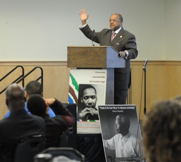 The Rev. Forrest Pritchett delivers the keynote address during the Martin Luther King Jr. Breakfast at the University of Maine in Orono Monday.
